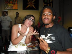 Me and Sara Del Rey at Anarchy Championship Wrestling in 2008